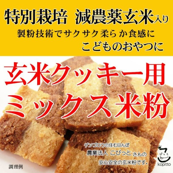 画像1: 【送先:事業所限定】玄米クッキー用 ミックス米粉 (特別栽培米 山梨県産コシヒカリ 使用) 2kgx2袋 サクサク柔らか食感 (1)